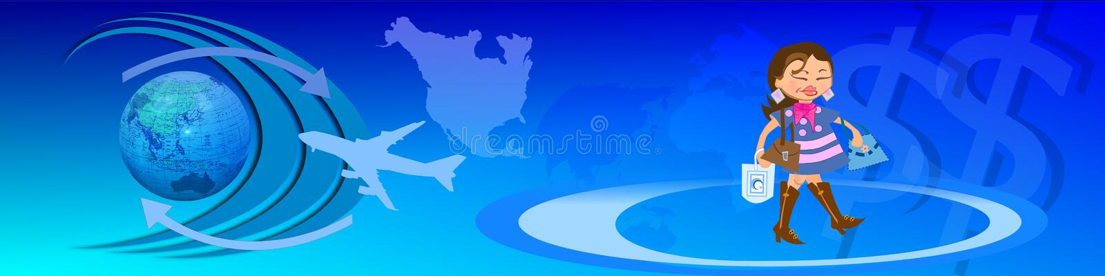 World wide traffic and e-commerce. This header / banner shows symbols like the globe, binary codes, the USD symbol and the shopping lady. All together this royalty free illustration