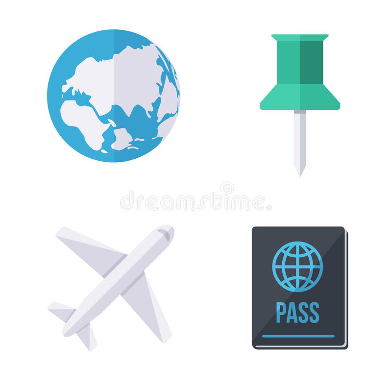 World wide traveling icons. Modern flat design. Isolated objects vector collection stock illustration