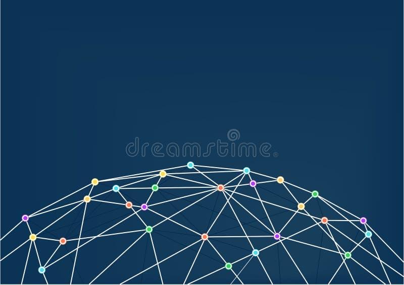 World Wide Web με τις συνδέσεις γραμμών μεταξύ των ζωηρόχρωμων διατομών Κλείστε επάνω του παγκόσμιου πλέγματος ελεύθερη απεικόνιση δικαιώματος