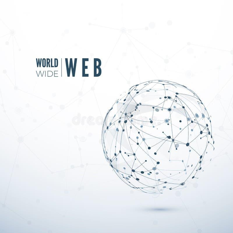 World Wide Web Abstrakte Beschaffenheit des globalen Netzwerks Auch im corel abgehobenen Betrag vektor abbildung
