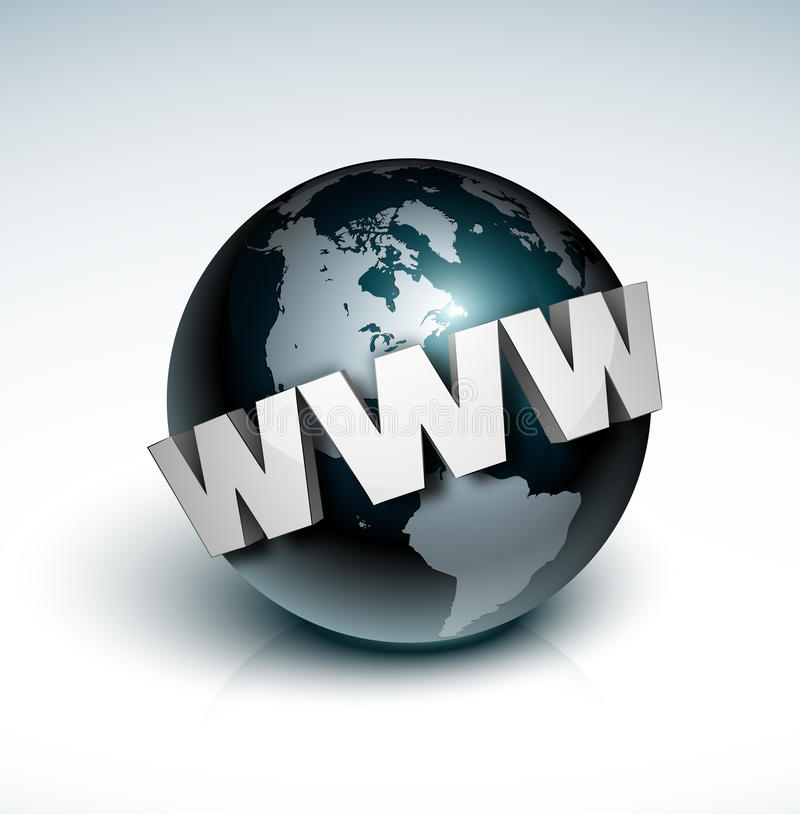 World Wide Web alrededor del globo ilustración del vector