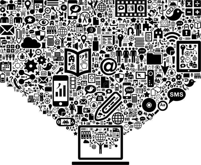 World wide web concept. Illustration of world wide web concept, huge amount of signs and symbols floating out of computer screen in cloud, white background stock illustration