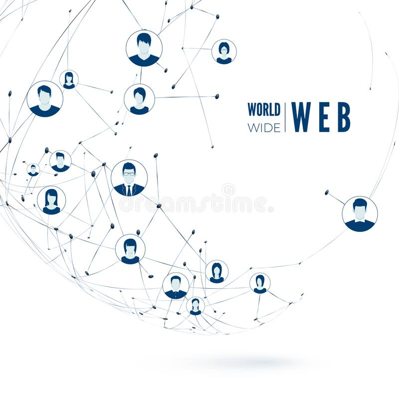 World Wide Web Concept. Social Media. Global Network Connection. Vector illustration stock illustration
