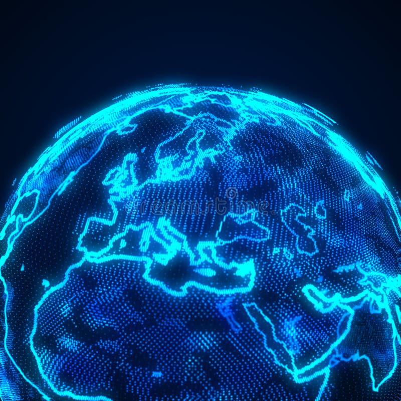 World Wide Web Conexão de rede global Mapa mundial Planeta Terra renderização 3D ilustração stock
