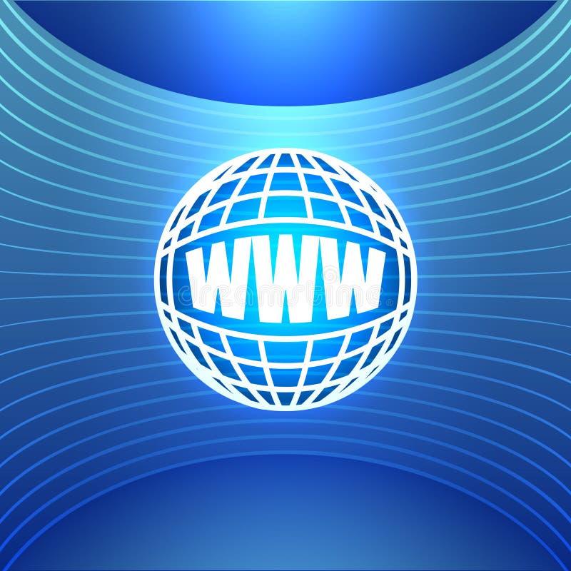 World Wide Web del icono en el fondo azul abstracto stock de ilustración