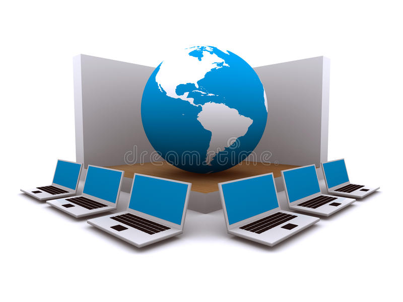 World Wide Web e computadores ilustração stock