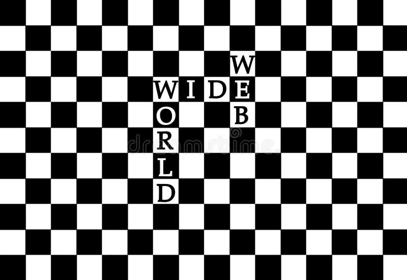 World Wide Web em um teste padrão da xadrez ilustração do vetor