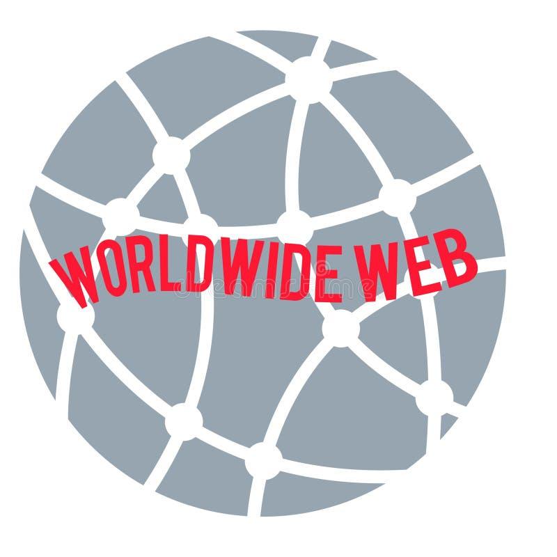 World Wide Web-embleem, rood die op cirkelbol grijze achtergrond verwoorden royalty-vrije illustratie