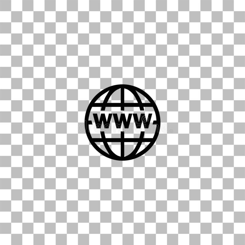 World Wide Web icon flat. World Wide Web. Black flat icon on a transparent background. Pictogram for your project stock illustration