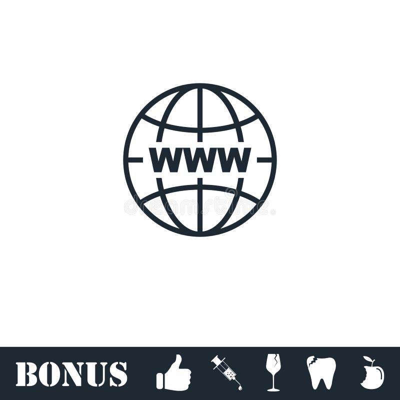 World Wide Web icon flat royalty free illustration