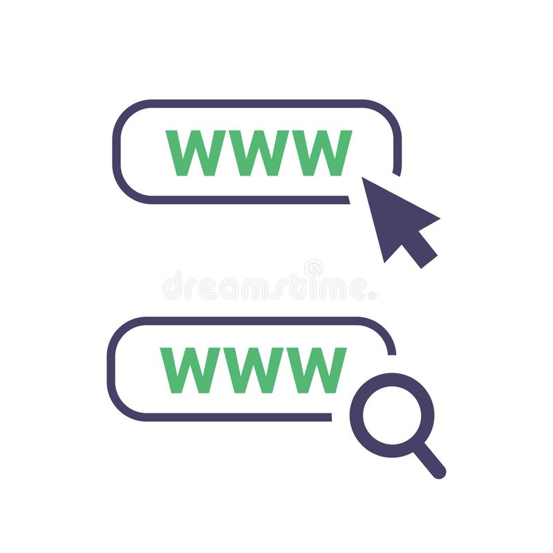 World wide web icon in trendy outline style design. Vector graphic illustration. Click on url, search url stock illustration