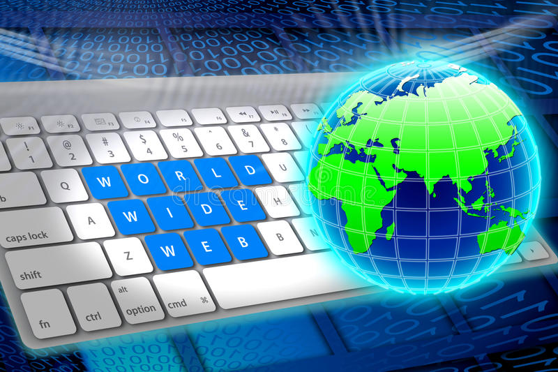 World wide web. An image for the concept of World Wide Web showing a computer key board with the words world wide web printed on to three lines of sets of stock illustration