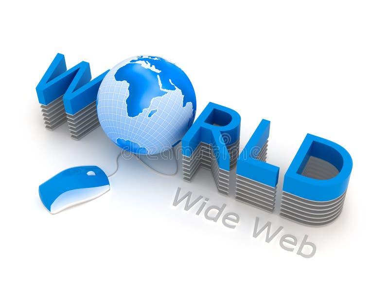 World Wide Web - ratón y globo del ordenador ilustración del vector