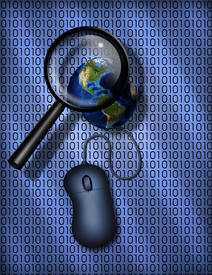 World Wide Web search. Earth, magnify glass and binary code stock illustration