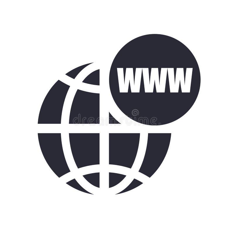 World Wide Web sul segno di vettore dell'icona di griglia e simbolo isolato su fondo bianco, World Wide Web sul concetto di logo  illustrazione vettoriale