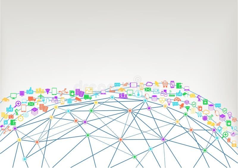World Wide Web und Internet des Konzeptes der Sachen (IoT) der verbundenen Geräte Wireframe-Modell der Welt lizenzfreie abbildung