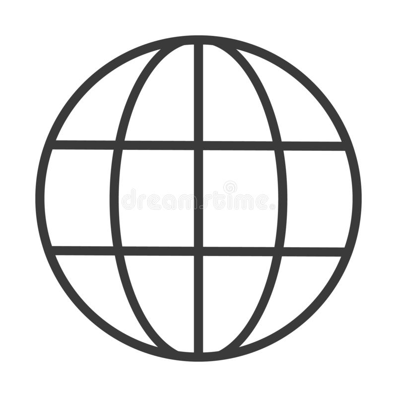 World Wide Web Vector Icon. Vector Line Logo illustration. Browser symbol.  royalty free illustration
