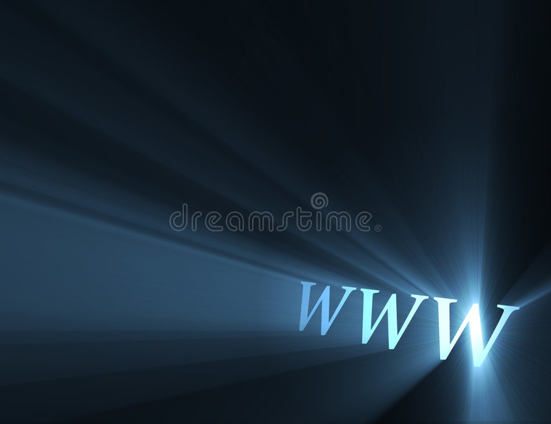 World wide web www light flare. World wide web sign (www the symbolic meaning of internet) with powerful blue light halo. Extended flares for cropping stock illustration
