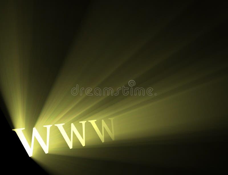 World wide web www shine light flare. Abbreviation of World wide web with powerful sunlight flares. Cyber internet background royalty free illustration