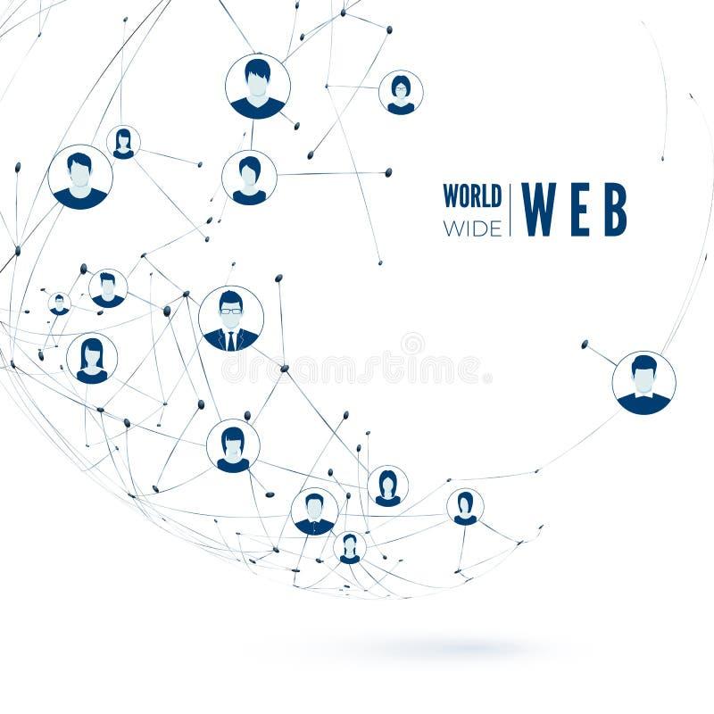 World- Wide Webkonzept Ein Bündel Leute, habend Gespräche Verbindung des globalen Netzwerks Auch im corel abgehobenen Betrag stock abbildung
