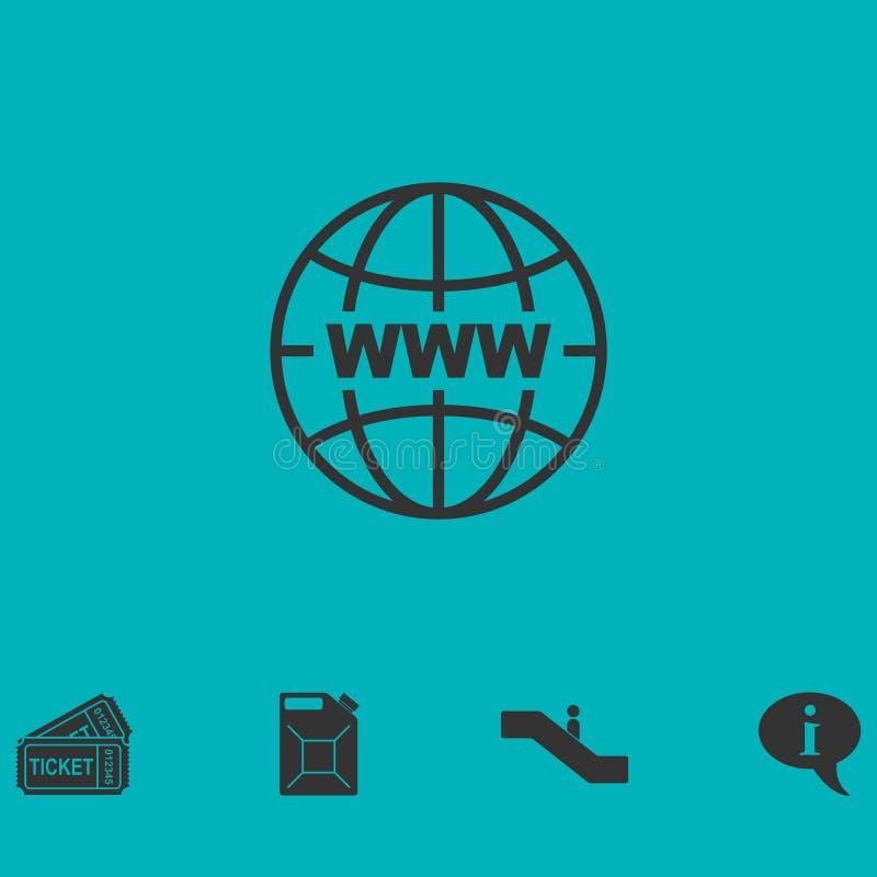 World wide websymbolslägenhet royaltyfri illustrationer