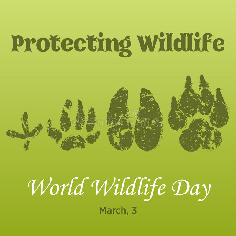 World Wildlife Day background with with animals tracks. Vector illustration for you design, card, banner, poster royalty free illustration