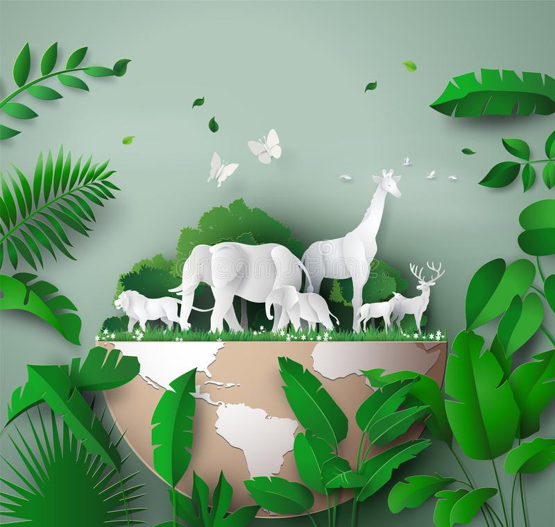 World Wildlife Day. With the animal in forest , Paper art and digital craft style royalty free illustration