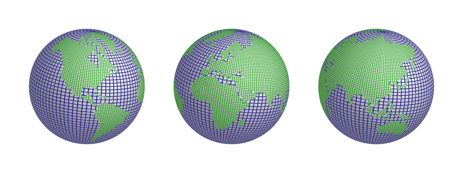 World wire 3 globes royalty free stock images