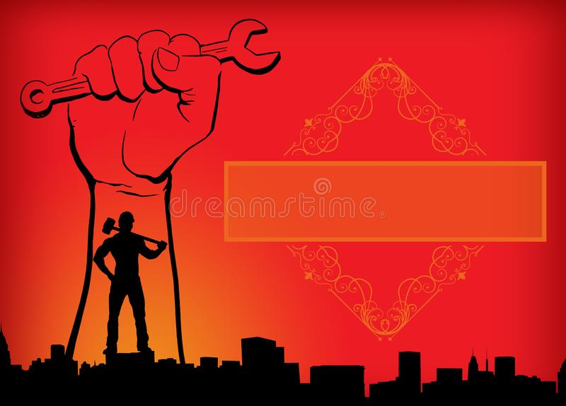World workers day May Day Labour Day red yellow and orange background man with hammer hand with spanner banner for banner with stock photos