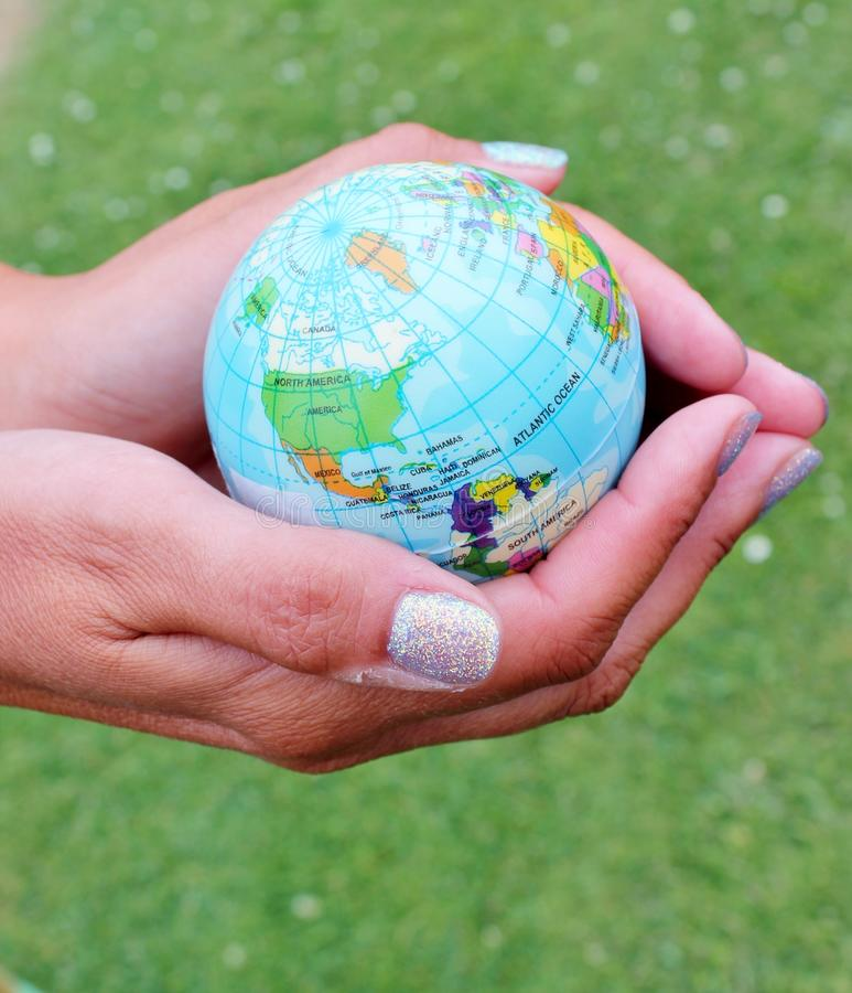 World in your hands hold holding enviroment concept royalty free stock image