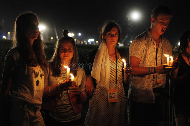 World Youth Day 2016 - pilgrims stock photography