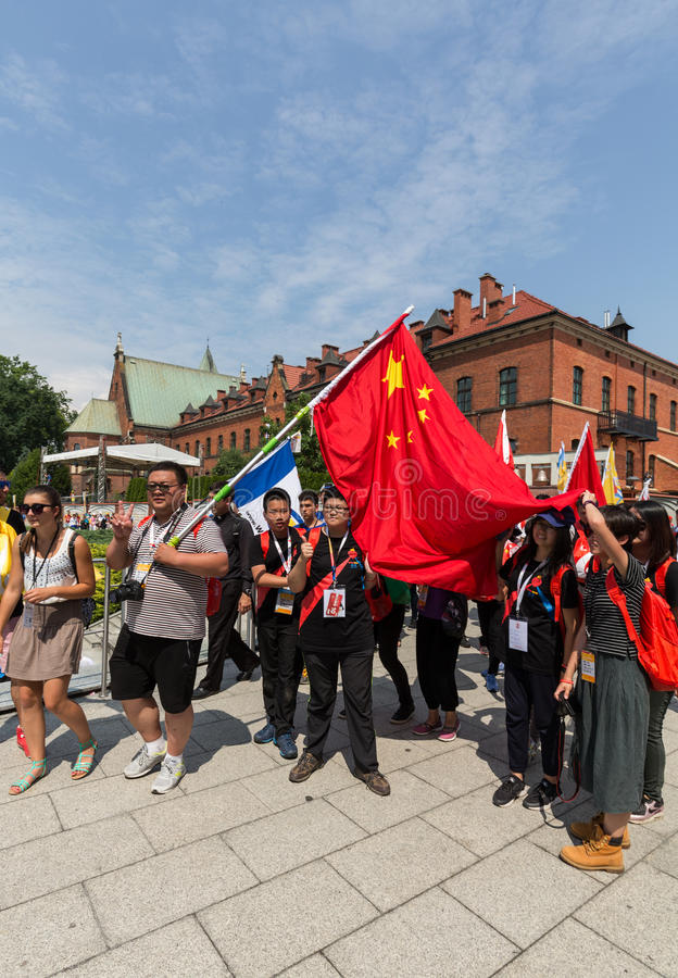 World Youth Day 2016 - Pilgrims from China in the Sanctuary of Divine Mercy in Lagiewniki. Cracow stock image