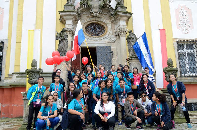 World Youth Day 2016 in Trzebnica. TRZEBNICA, POLAND - JULY 25: World Youth Day, group of pilgrims from Nicaragua and Panama visit St. Jadwiga Sanctuary on 25th stock photos