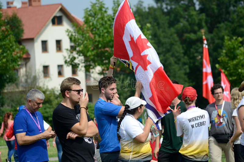 World Youth Day 2016 in Trzebnica. TRZEBNICA, POLAND - JULY 25: World Youth Day, pilgrims from different countries visit St. Jadwiga Sanctuary on 25th July 2016 stock image