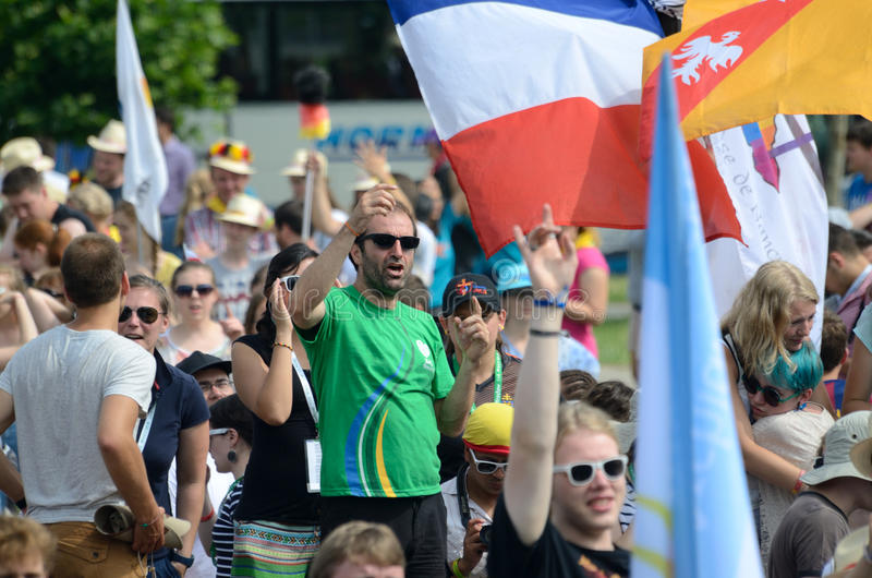 World Youth Day 2016 in Trzebnica. TRZEBNICA, POLAND - JULY 25: World Youth Day, pilgrims from different countries visit St. Jadwiga Sanctuary on 25th July 2016 royalty free stock photo
