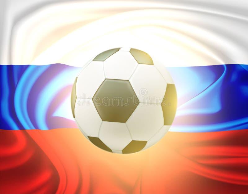 Worldcup russe de drapeau de ballon de football réaliste de vecteur illustration de vecteur