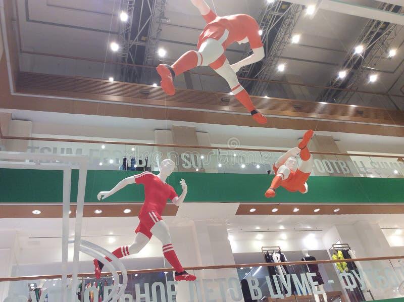WORLDCUP 2018 van Moskou FIFA decoratie in het warenhuis van TSUM stock foto's