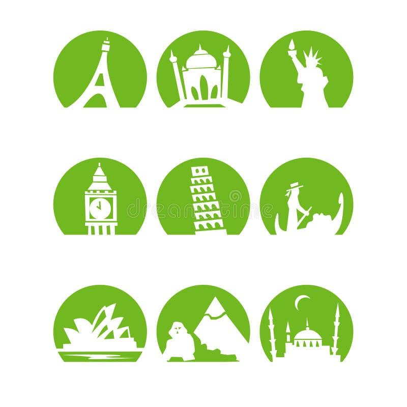 Worldlandmarks1green. Stylised landmarks 1 in orange stock illustration