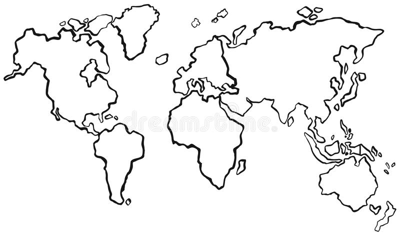 worldmap草稿没有颜色的 库存例证