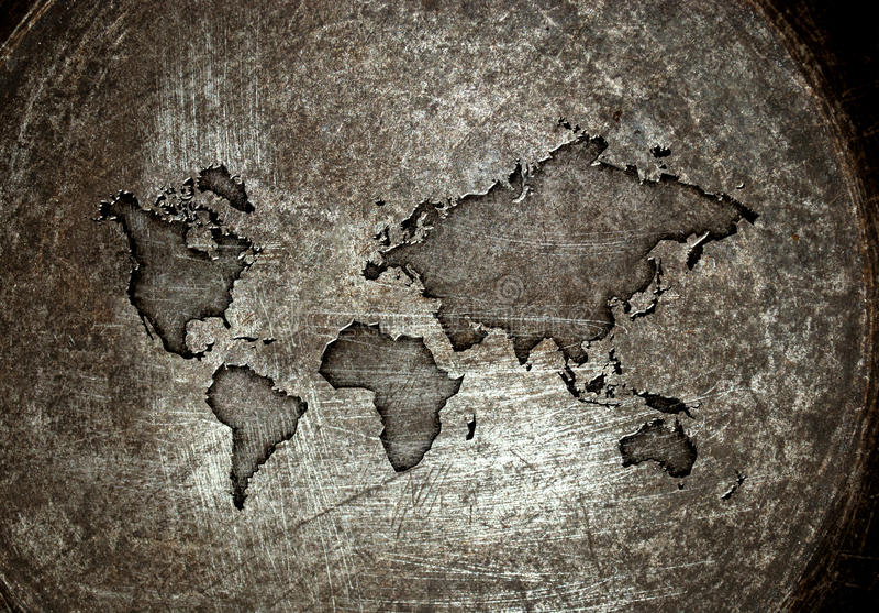 Worldmap на стали иллюстрация вектора