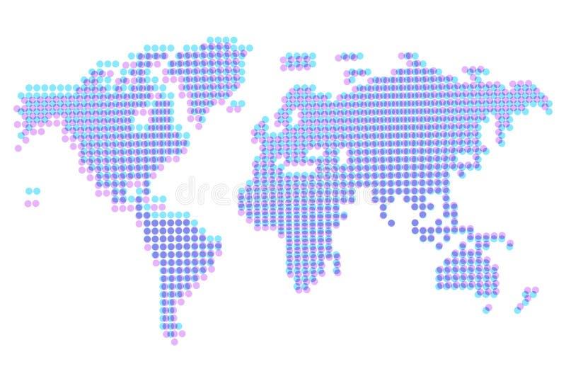 Worldmap abstrato pontilhado com offset ilustração stock
