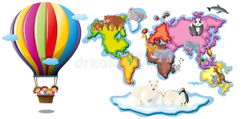 Worldmap com animais e equitação do balão ilustração royalty free