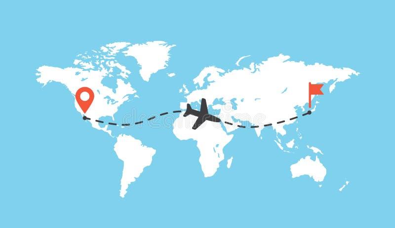 Worldmap con el ejemplo del vector del rastro del aeroplano Trayectoria de la pista de los aviones en el mapa, línea plana de la  ilustración del vector