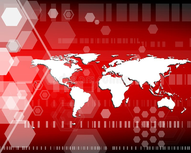 Worldmap con gli esagoni nel colore rosso illustrazione vettoriale