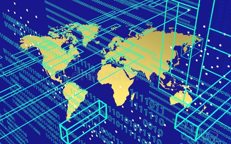 Worldmap in der Technologieumwelt über blauem Hintergrund lizenzfreies stockfoto