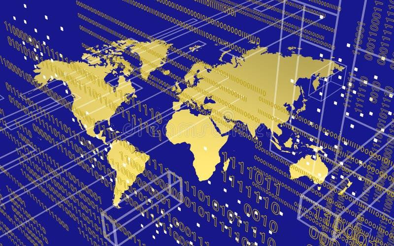 Worldmap in der Technologieumwelt über blauem Hintergrund stockbilder