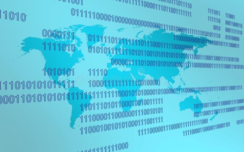Worldmap in der Technologieumwelt über blauer Zweiheit lizenzfreies stockfoto