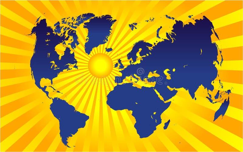 Worldmap e sol ilustração royalty free