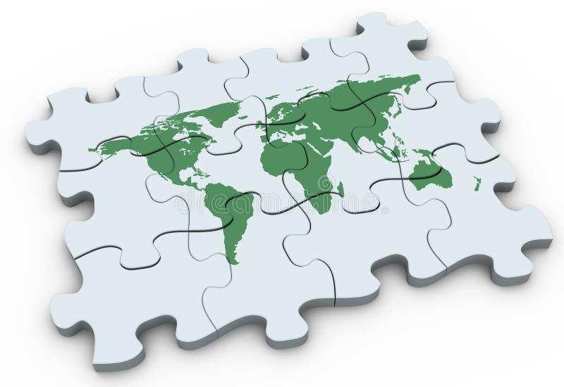 worldmap för pussel 3d royaltyfri illustrationer