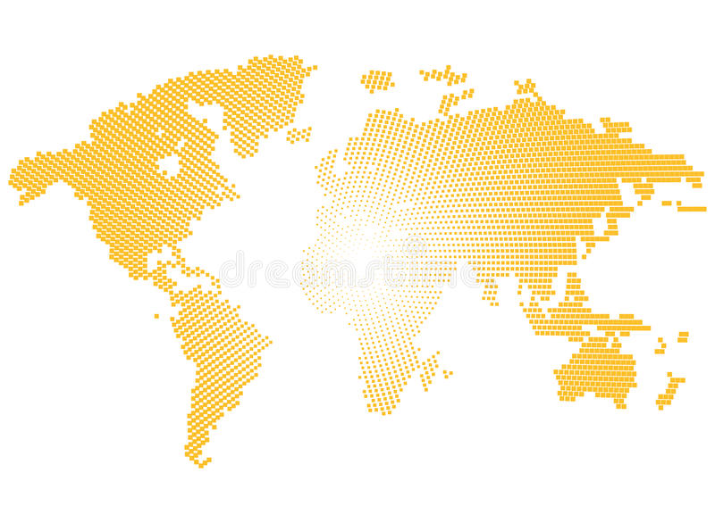 Worldmap jaune d'isolement de couleur des points sur le fond blanc, illustration de vecteur de la terre illustration libre de droits